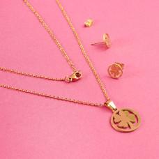 Komplet biżuterii ze stali chirurgicznej koniczynka w kółku złoty 45cm