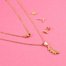 Komplet biżuterii ze stali chirurgicznej liść laurowy złoty 45cm