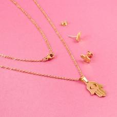 Komplet biżuterii ze stali chirurgicznej ręka fatimy złoty 45cm