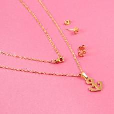 Komplet biżuterii ze stali chirurgicznej kotwica złoty 45cm