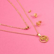 Komplet biżuterii ze stali chirurgicznej palmy złoty 45cm