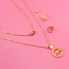 Komplet biżuterii ze stali chirurgicznej trzy gwiazdki złoty 45cm