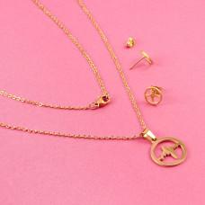 Komplet biżuterii ze stali chirurgicznej linia życia w kółku złoty 45cm