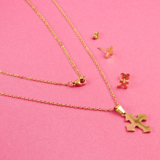 Komplet biżuterii ze stali chirurgicznej krzyż gotycki złoty 45cm