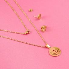 Komplet biżuterii ze stali chirurgicznej kółka złoty 45cm