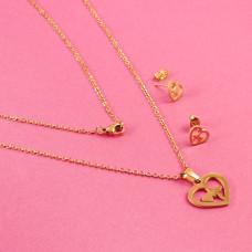 Komplet biżuterii ze stali chirurgicznej serce z linią życia złoty 45cm