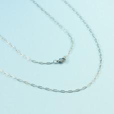 Łańcuszek ze stali chirurgicznej płaskie owale srebrny 46cm