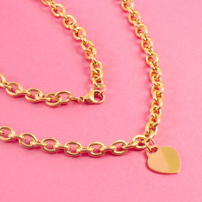 Gruby łańcuch ze stali chirurgicznej z serduszkiem złoty 51,5cm