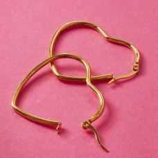 Kolczyki serca ze stali chirurgicznej złoty 42x36mm