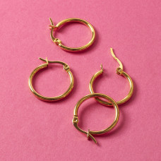 Kolczyki koła ze stali chirurgicznej złoty 20mm