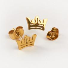 Kolczyki sztyfty ze stali chirurgicznej korona złoty 9,3x6mm