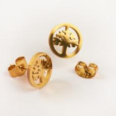 Kolczyki sztyfty ze stali chirurgicznej drzewo rodziny złoty 10mm