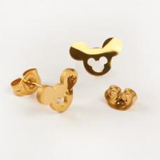 Kolczyki sztyfty ze stali chirurgicznej myszka Miki złoty 10,5x7,3mm