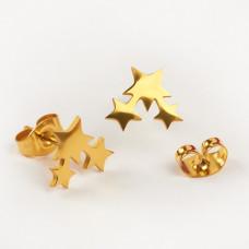 Kolczyki sztyfty ze stali chirurgicznej trzy gwiazdki złoty 9,8x8,4mm
