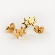 Kolczyki sztyfty ze stali chirurgicznej dwie gwiazdki złoty 10,5x6,5mm
