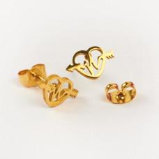 Kolczyki sztyfty ze stali chirurgicznej serce z linią życia złoty 10,6x6,7mm