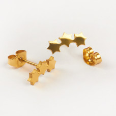 Kolczyki sztyfty ze stali chirurgicznej trzy gwiazdki złoty 11,7x5mm