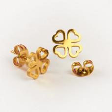Kolczyki sztyfty ze stali chirurgicznej koniczynka wycięta złoty 9,5mm