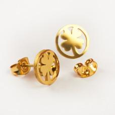 Kolczyki sztyfty ze stali chirurgicznej koniczynka w kółku złoty 9,5mm