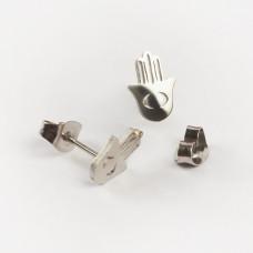 Kolczyki sztyfty ze stali chirurgicznej ręka fatimy srebrny 6,5x9,5mm