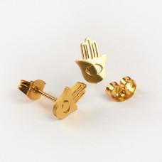 Kolczyki sztyfty ze stali chirurgicznej ręka fatimy złoty 6,5x9,5mm
