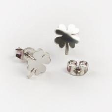 Kolczyki sztyfty ze stali chirurgicznej koniczynka srebrny 9,5x7,5mm