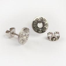 Kolczyki sztyfty ze stali chirurgicznej kółko ażurowe srebrny 9mm
