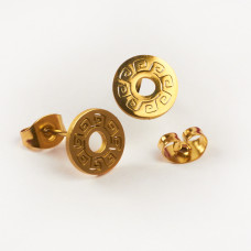 Kolczyki sztyfty ze stali chirurgicznej kółko ażurowe złoty 9mm