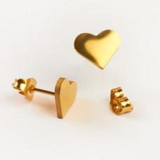 Kolczyki sztyfty ze stali chirurgicznej serduszko złoty 10x8mm