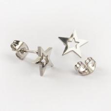 Kolczyki sztyfty ze stali chirurgicznej gwiazdka srebrny 9,2x8,8mm