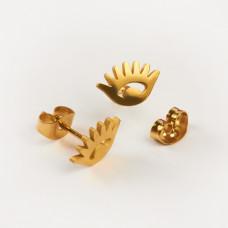 Kolczyki sztyfty ze stali chirurgicznej oczko złoty 10x6,5mm