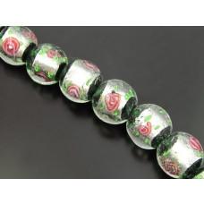 Szkło weneckie lampwork kulka róża w zieleni 18mm