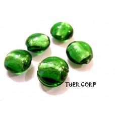 Szkło weneckie krążek zielony 12mm