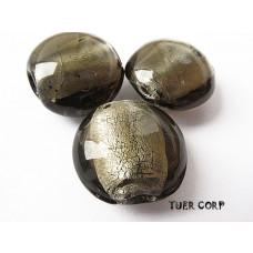 Szkło weneckie krążek czarny diamient 15mm