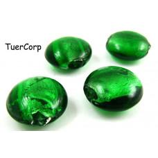 Szkło weneckie krążek zielony 20mm