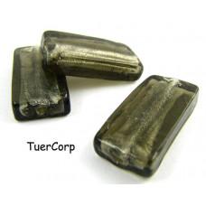 Szkło weneckie prostokąt czarny diament 28x14mm