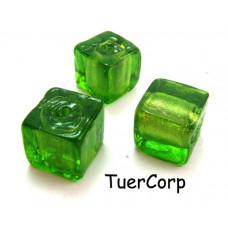Szkło weneckie kostka zielona 15mm