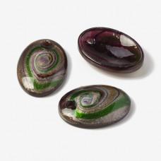 Zawieszka szkło weneckie owal fioletowo-zielone 58x40mm