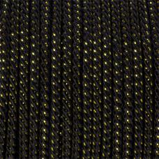 Sznurek czarny skręcany z ze złotą nicią 3mm