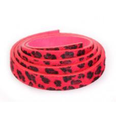 Pasek do bransoletek włochaty czerwony lampart 1m