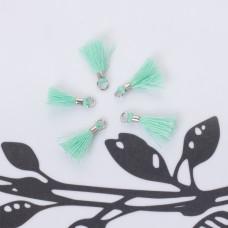 Mini chwosty w srebrnym okuciu turkusowy 10mm