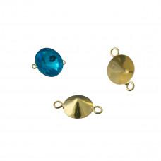 Baza do rivoli z dwoma oczkami kolor złoty 10mm