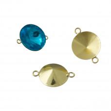 Baza do rivoli z dwoma oczkami kolor złoty 14mm