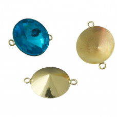 Baza do rivoli z dwoma oczkami kolor złoty 18mm