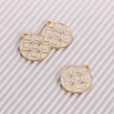 Zawieszka emaliowana romby z kryształkami biały 18mm