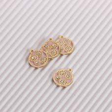 Zawieszka emaliowana kwiatki z kryształkami różowy 10mm