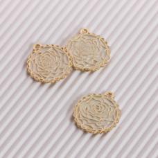 Zawieszka emaliowana róża biały 20mm