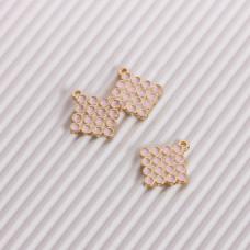 Zawieszka emaliowana kwadrat w kółeczka różowy 15mm