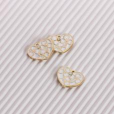 Zawieszka emaliowana serce we wzorki z kryształkiem biały 14mm