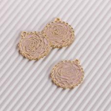 Zawieszka emaliowana róża  różowy 20mm